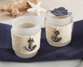 Nautical Rope & Anchor Summer Beach Glass Candle Votive Bridal Wedding F... - $86.93+