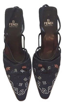 Authentic fendi women black evening heel SZ 37.5 - $165.00