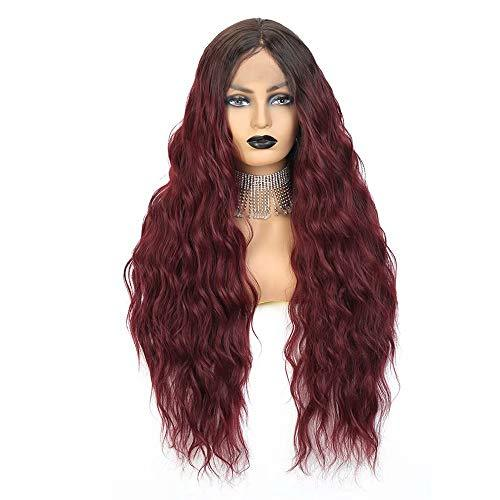 Long Wavy Lace Front Wigs For Women 24 Inch Deep Wave Wig Ombre Burgundy Synthet
