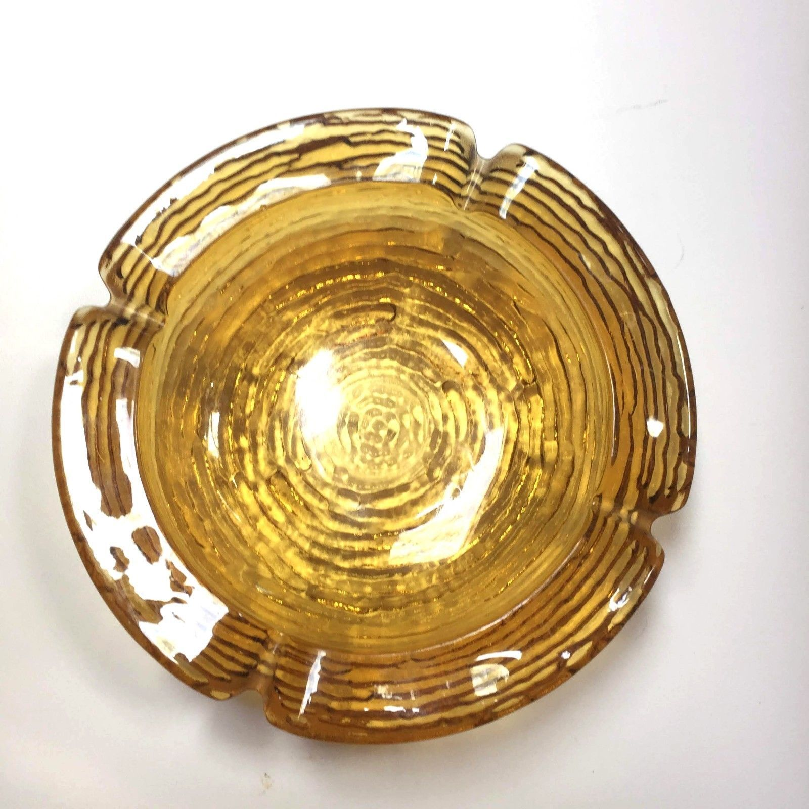 VTG Anchor Hocking Lido Soreno Amber Yellow Glass Ashtray candy dish retro 6""
