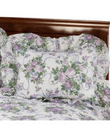 Ribbons & Roses Floral Plisse Pillow Shams-LAVENDER - $17.74