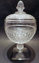 English Hobnail Clear Glass Covered Candy Dish Compote - $24.70