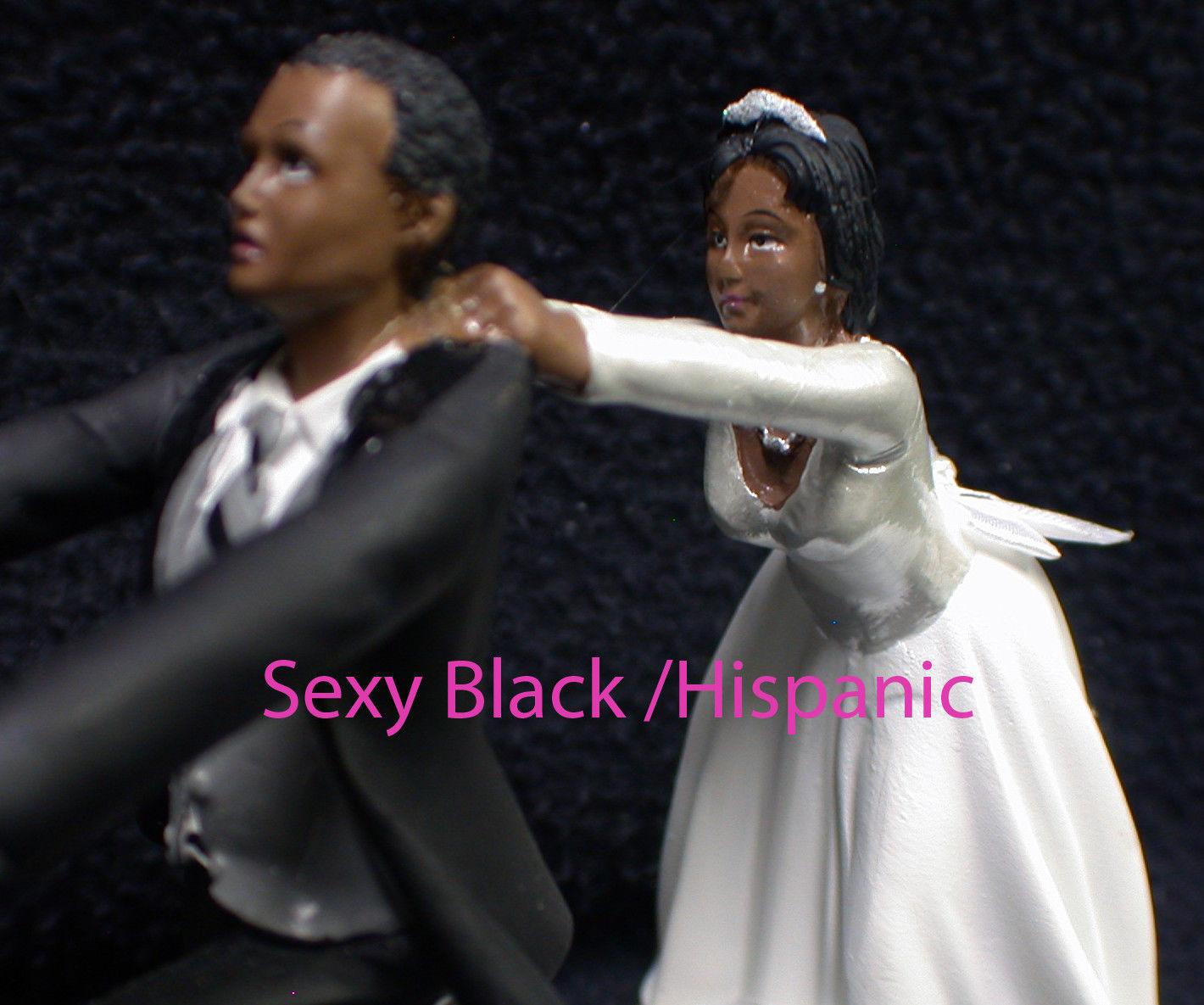 Wedding Cake Topper W/Yellow Honda Motorcycle White Black Hispanic Groom top NEW