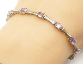 925 Sterling Silver - Vintage Amethyst Bamboo Link Chain Bracelet - B4931 - $32.91