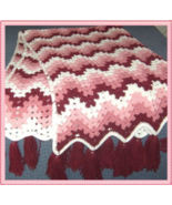 Afghan Handmade 56 x 74 Pink - Burgundy - White... - $44.55