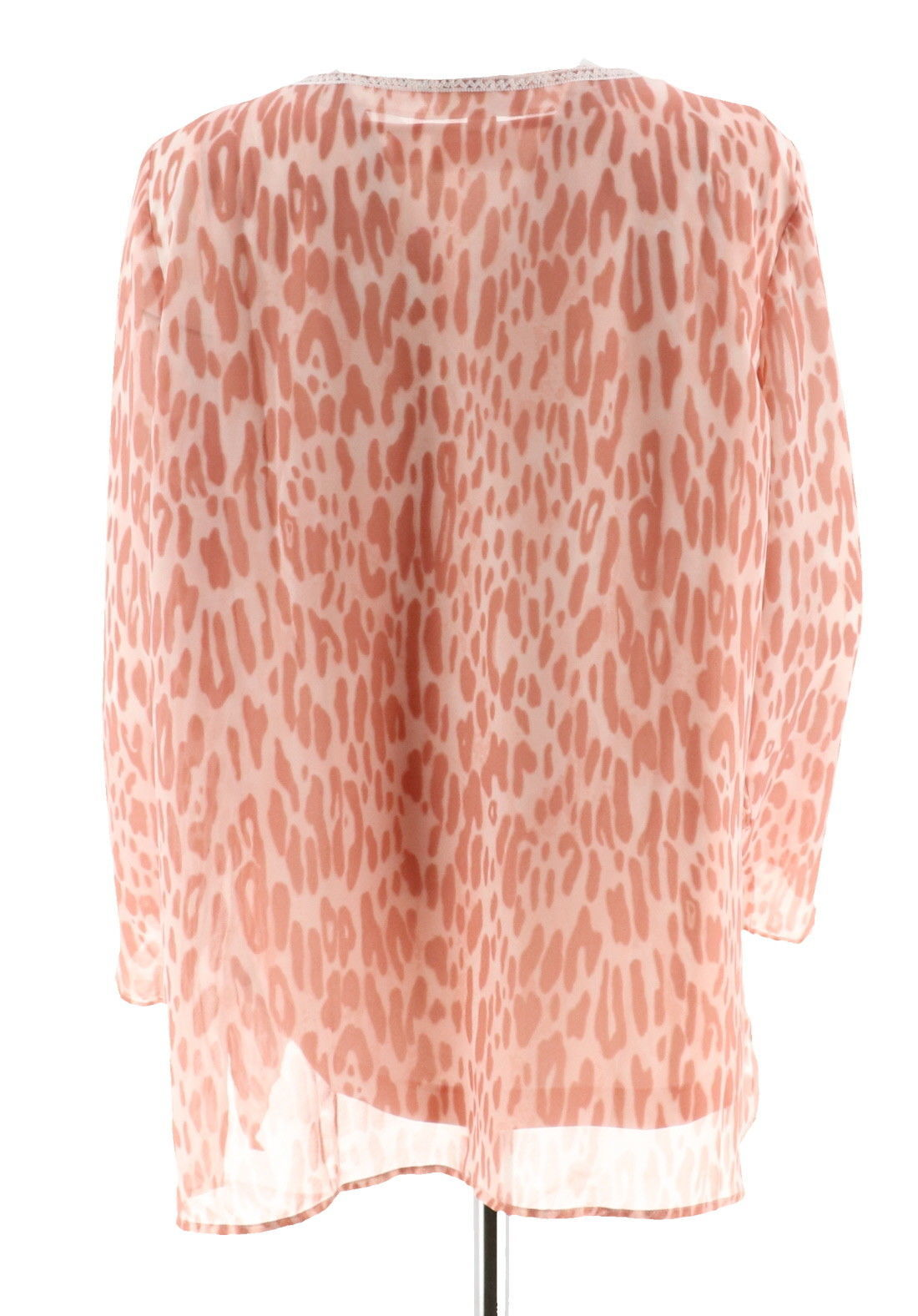 Belle Kim Gravel Embroidered Animal Print Top Tank Shell Pink M NEW A301594