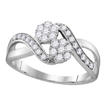 14k White Gold Round Diamond 2-stone Bridal Wedding Engagement Ring 1/2 Ctw - £508.96 GBP