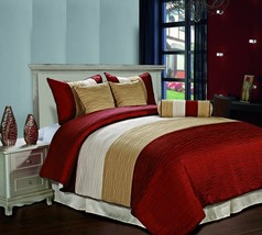 Amber 7pc Jacquard Stripes Comforter Set Burgundy Gold Cream Full,Queen ... - £46.86 GBP