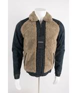 Zara Man Denim Jean Jacket Faux Shearling Contrast Coat Small Medium 698... - $139.00
