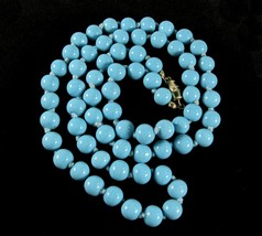 Light BLUE GLASS BEAD NECKLACE Vintage Turquoise-Blue Beaded Knotted Str... - $16.99