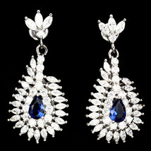 Blue TearDrop & Clear Marquis 5A Cubic Zirconia Sterling Silver Dangle Earrings - $49.49