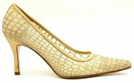 Bandolino Women Stiletto Pump Heels Bestevex3 Size US 7.5M Gold Silver Clear - $23.00