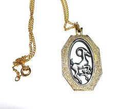 Aries the Ram Astrology Pendant Abstract Vintage Necklace - $12.59