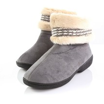 Isotoner Gray Faux Fur Slippers Collar Booties Indoor Outdoor Shoes Wome... - $29.61