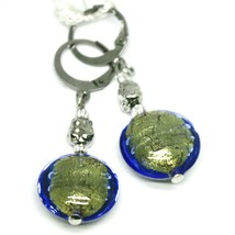 """PENDANT EARRINGS BLUE ROUNDED DISC MURANO GLASS 4.5cm 1.8"""" MADE IN ITALY image 1"""