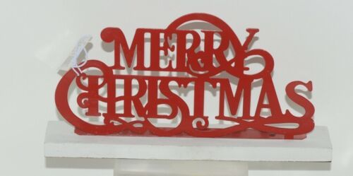 Ganz CB173137 Red White Merry Christmas Laser Cut Metal Tabletop Sign