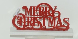 Ganz CB173137 Red White Merry Christmas Laser Cut Metal Tabletop Sign image 1