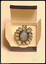 Avon mark FLOWER SHOW stretch ring burnished brass rhinestones Size 8-10 NIB image 2