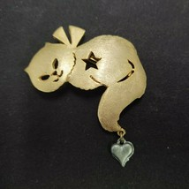 ULTRA CRAFT GOLD/SILVER TONE METAL CAT BROOCH PIN W/HEART DANGLE STAR JE... - $18.99