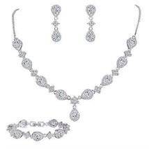 EleQueen Women's Silver-tone Cubic Zirconia Teardrop Flower Bridal V-Nec... - $90.56