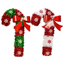 Christmas House Tinsel Candy Cane Decoration 15 in. w - $5.99