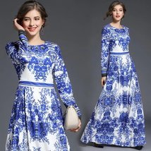 New spring fashion blue and white porcelain printing round neck dress - $69.00