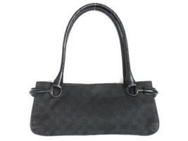 Authentic GUCCI Original GG Canvas Leather Dark Grey Black Shoulder Bag ... - $145.24