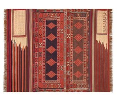 Pottery Barn Isaac Rug Rust Red 3x5 Southwest Turkish Kilim New In Wrapping - $99.00