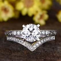2.6Ct  Round White Diamond Engagement Halo Wedding  Ring Set With Band 9... - $93.00
