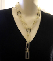"L.E. Mod Blonde Tortoiseshell Lucite & Metal Link Y Necklace 18"" - $69.99"