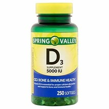 Spring Valley Vitamin D3 Softgels, 5000 IU, 250 Count Bottle image 1