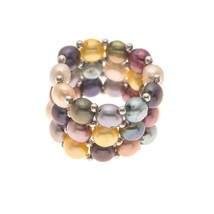 Pearls & Colors Women Steel Chinese Freshwater Cultured Pearl Rings - $52.53