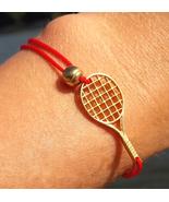 Tennis bracelet, gold 18k charm, racket, cord bracelet, gift for tennis ... - $339.00