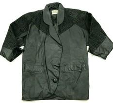 VINTAGE Warehouse Leather Jacket Womens Size 6 Loose Fit Black Single Bu... - $46.33