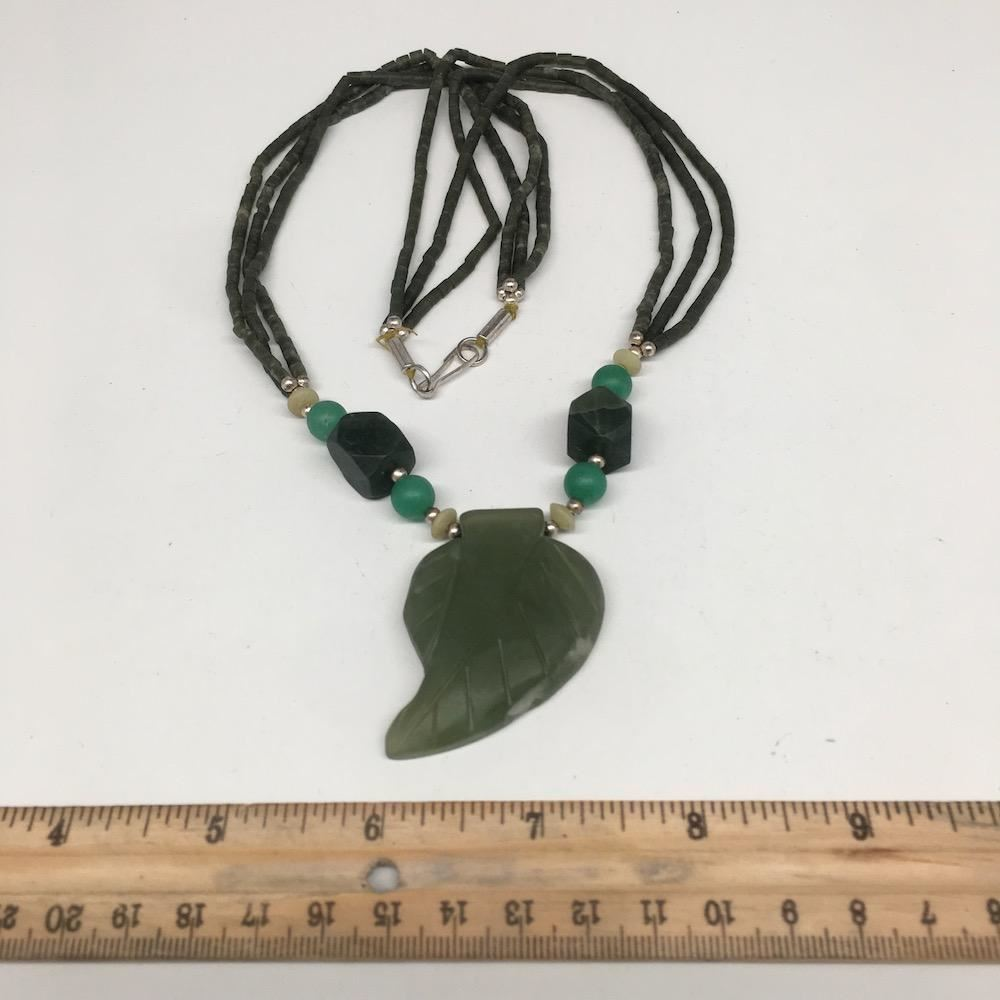 """61.6g,Double-Strand Green Nephrite Jade Beaded Carved Pendant Necklace,24"""" NPH35"""