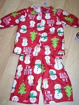 Size 12 Months Carters Flannel Pajamas Set Top Pants Red Holiday Snowman... - $12.00