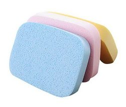 Set Of 2 Facial Cleansing Sponge Makeup With Box Pink Blue Yellow Seawee... - $12.70