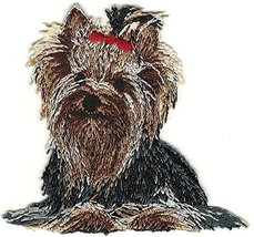Yorkshire Terrier Dog Breed Red Bow Embroidery Patch - $10.40