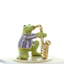 Hagen Renaker Miniature Frog Toadally Brass Band Saxophone Ceramic Figurine image 1