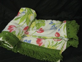 Sears Flat Sheet Full Size Fringed Edge Floral  - $19.79