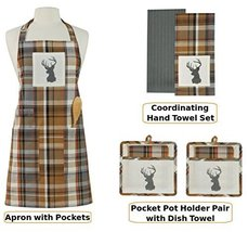 Roaring Thunder Apron and Accessories 7 pc. Set with Antlered Deer Logo - $76.72
