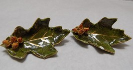 2  IDENTICAL VINTAGE GREEN LEAF PINS 1 HAS CHIP  FREE SHIP - $8.57