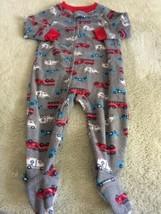 Child Of Mine Boys Gray Red Firetrucks Fleece Long Sleeve Pajamas 12 Months - $5.71