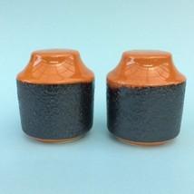 RETRO HANSTAN POTTERY SALT & PEPPER SHAKERS 70s Orange & Brown glaze VGC... - $17.24