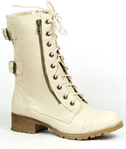 Skin Beige Faux Leather w Zipper Buckle Lace Up Military Combat Mid Calf... - $14.99