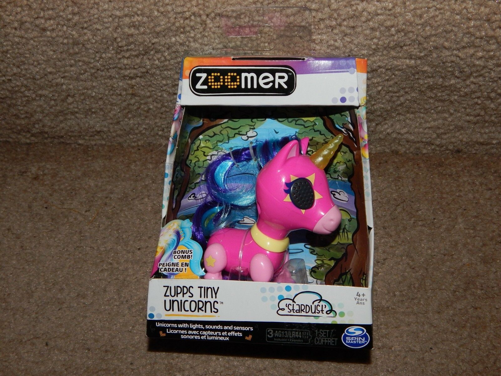 New! Zooner Zupps Tiny Light-Up Horn Unicorns Figure Stardust 4+ Free Shipping