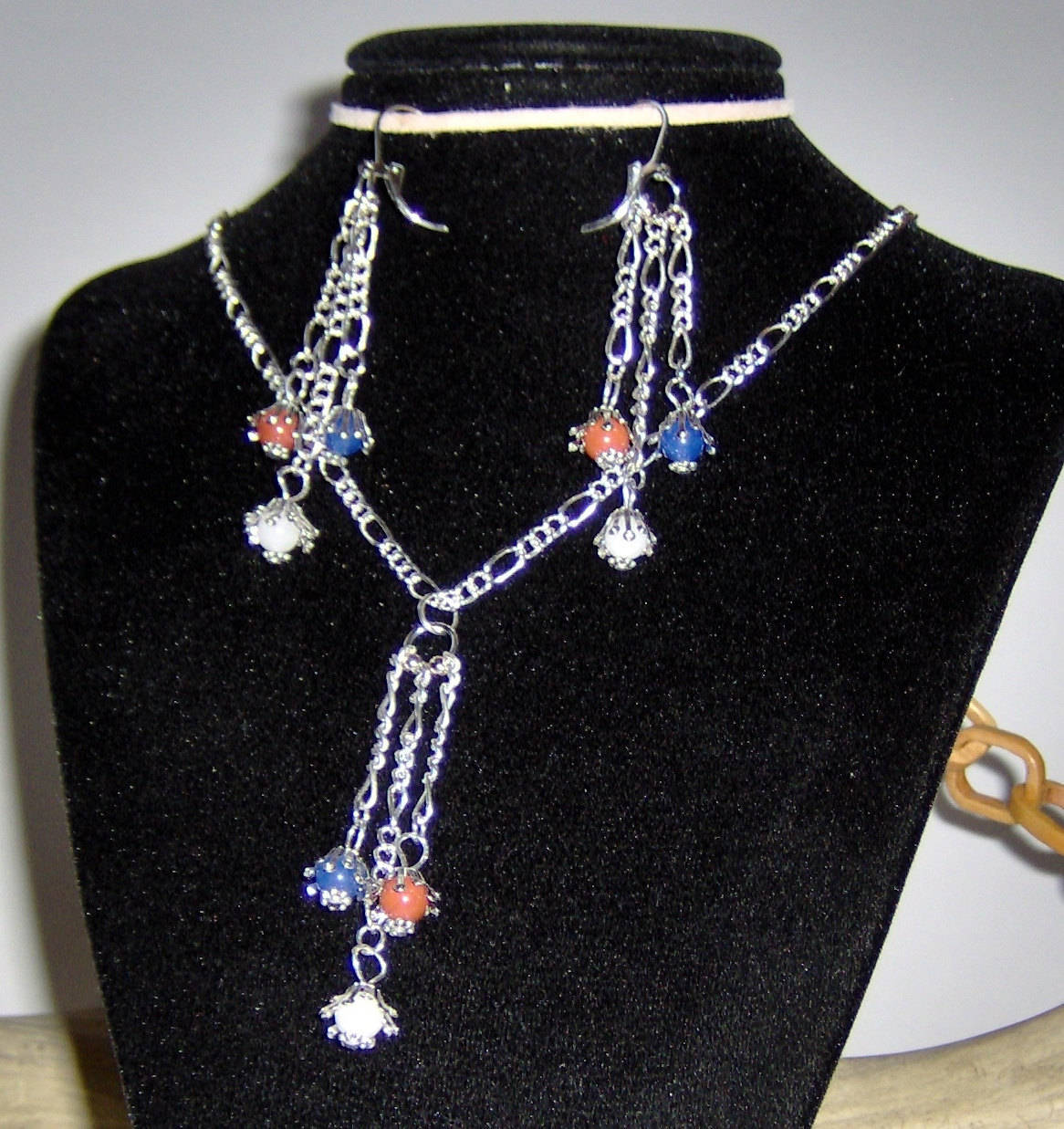 American Made!  Red White & Blue Agates Hang from Earrings and Necklace