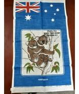 "Vintage Blue Koala Bear Australian Souvenir Tea Towl  19""X31"" - $15.79"