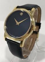 Movado 2100005 Museum Black Dial Black Leather Band Men's Quartz Analog ... - $368.14 CAD