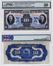 1933 Imperial Bank of Canada $10.00 Ten Dollar Note Very Fine 30 - $672.12